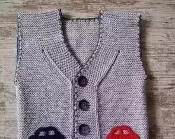 棒针编织一款简单洋气,男女宝宝都能穿的小背心,附图解教程