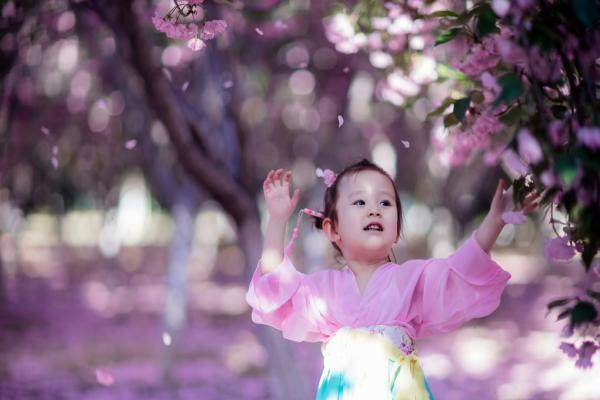 树下樱花相信相信不表情包的觅春,穿汉服的小女孩如小仙女,萌童表图片